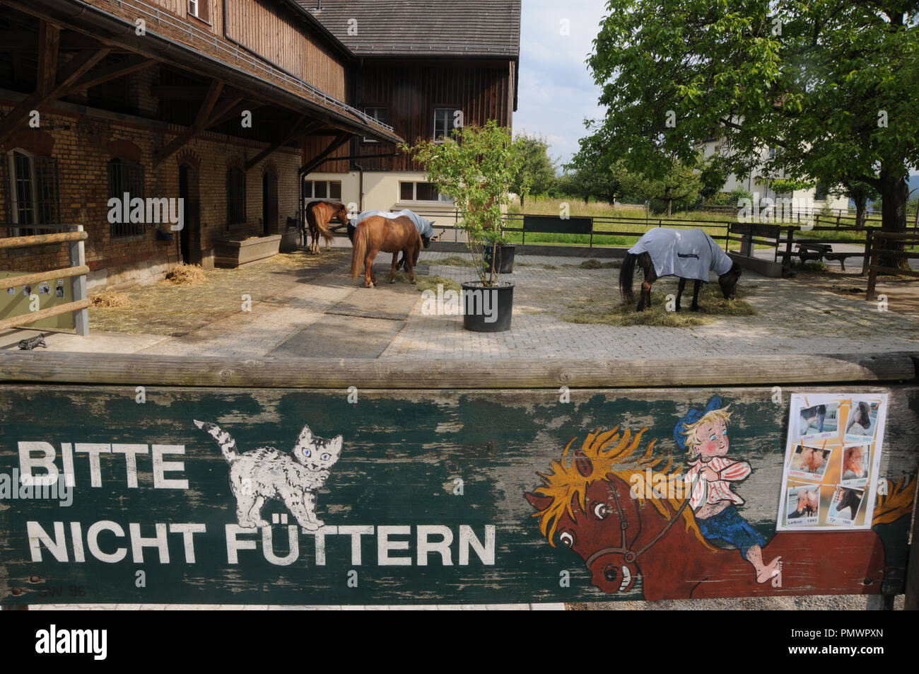 Switzerland: The horse stall of the Swiss Epilepsy clinic in Zürich City Seefeld - Stock Image