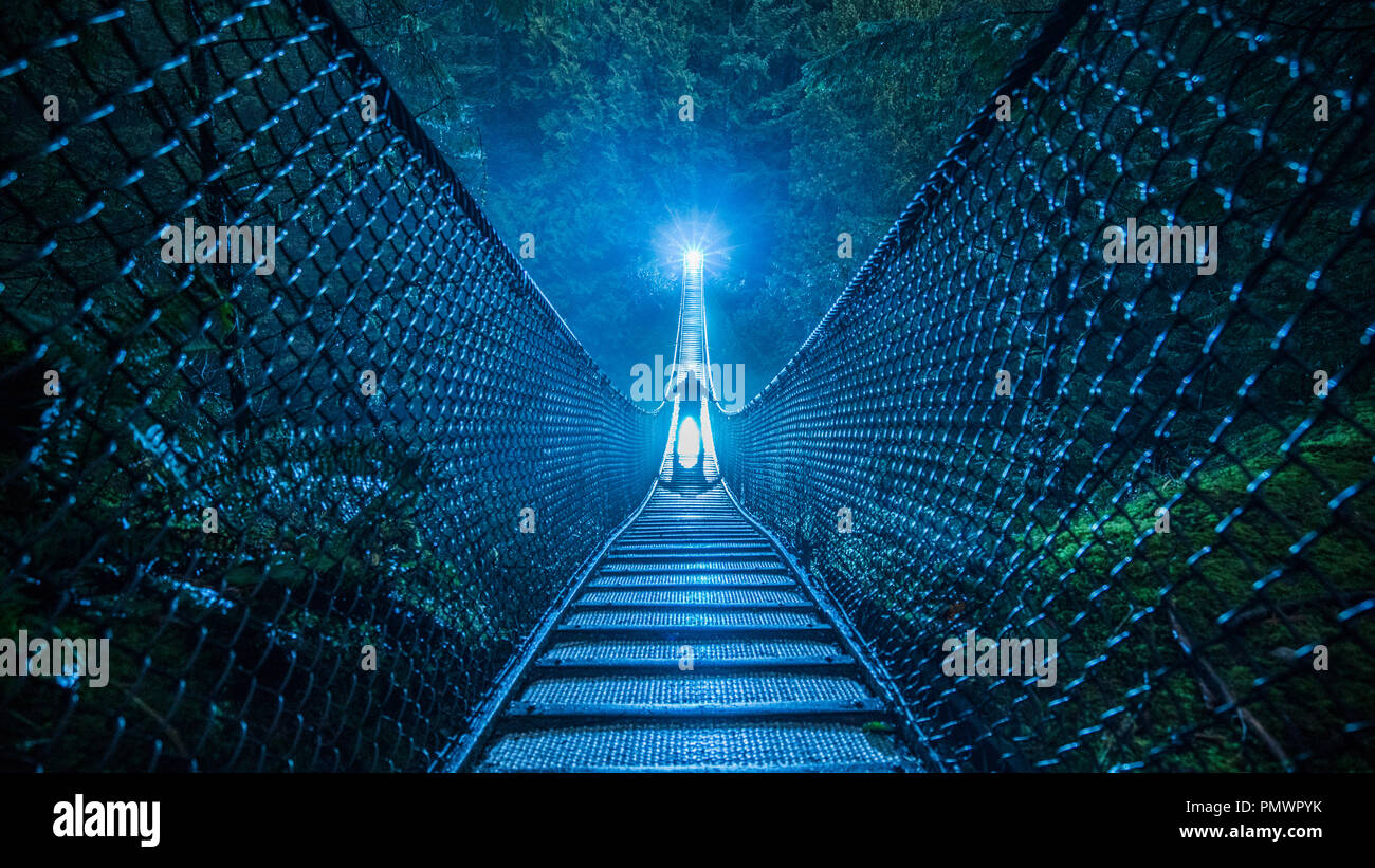 Mysterious silhouetted person on suspension bridge in woods at night - Stock Image