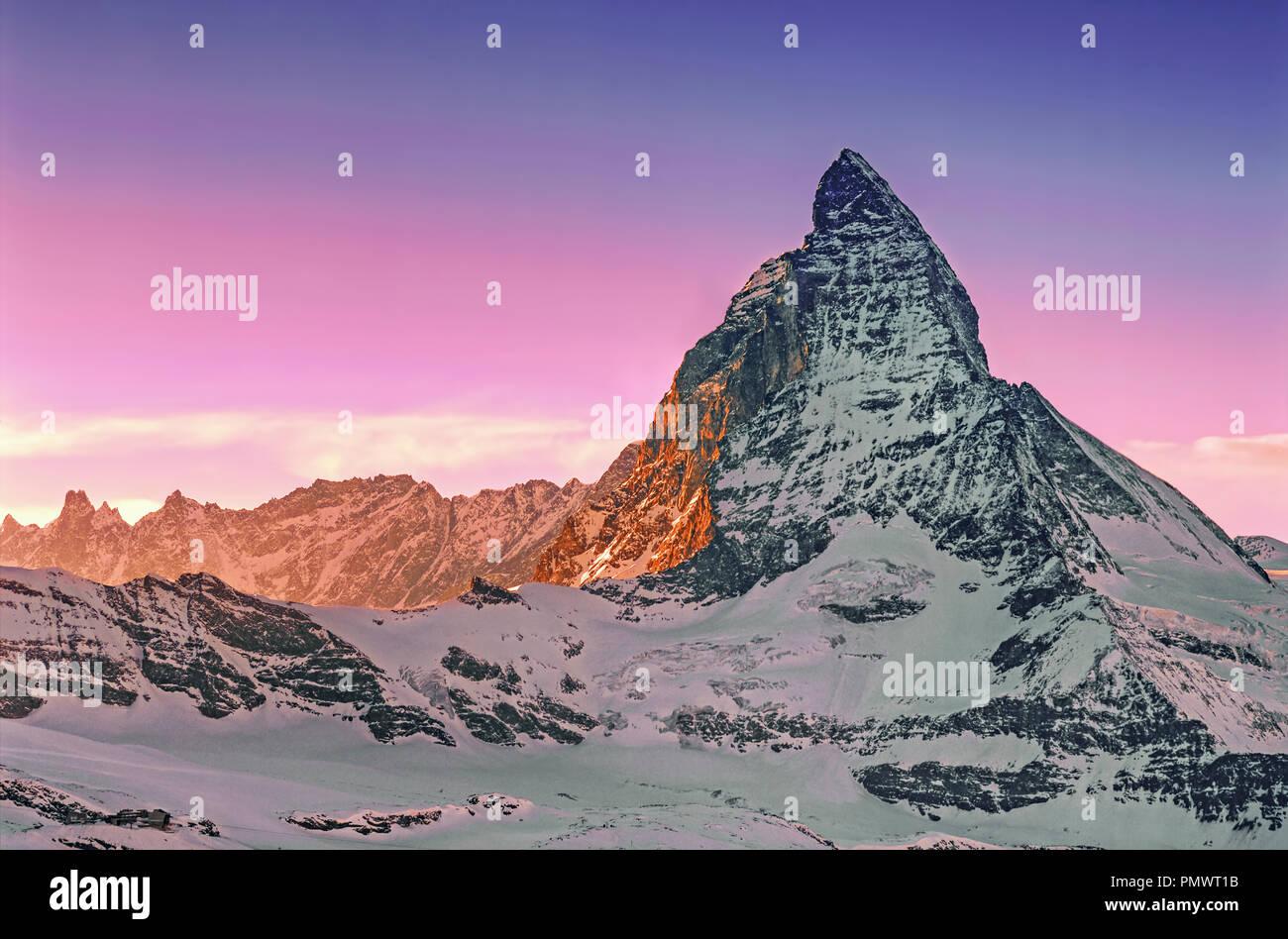 Matterhorn , view from  Gornergrad , Wallise Alps , Zermatt, Kanton Wallis, Switzerland, Europe Stock Photo