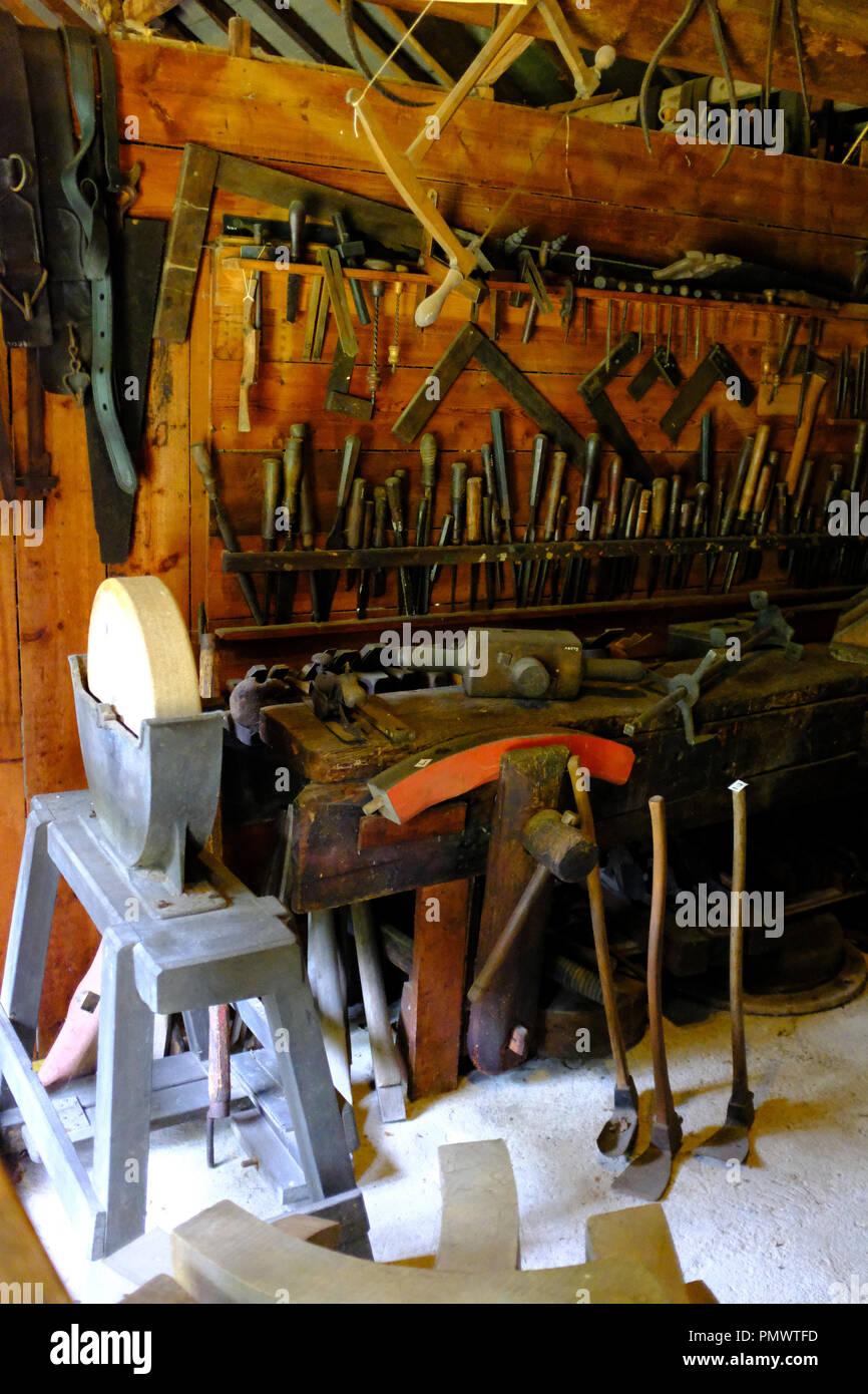 Wheelwright Ryedale Folk Museum, Hutton le Hole, Yorkshire, UK - Stock Image