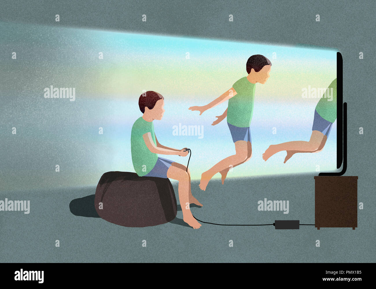Boy playing virtual reality video game - Stock Image