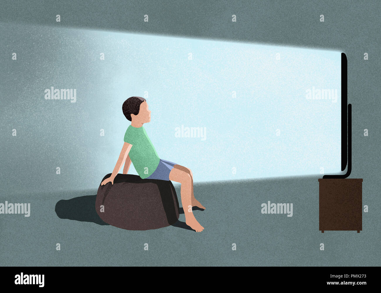 Boy watching TV - Stock Image