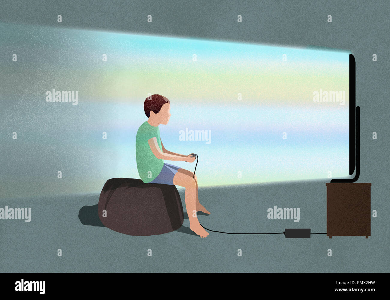 Boy playing video game at TV - Stock Image
