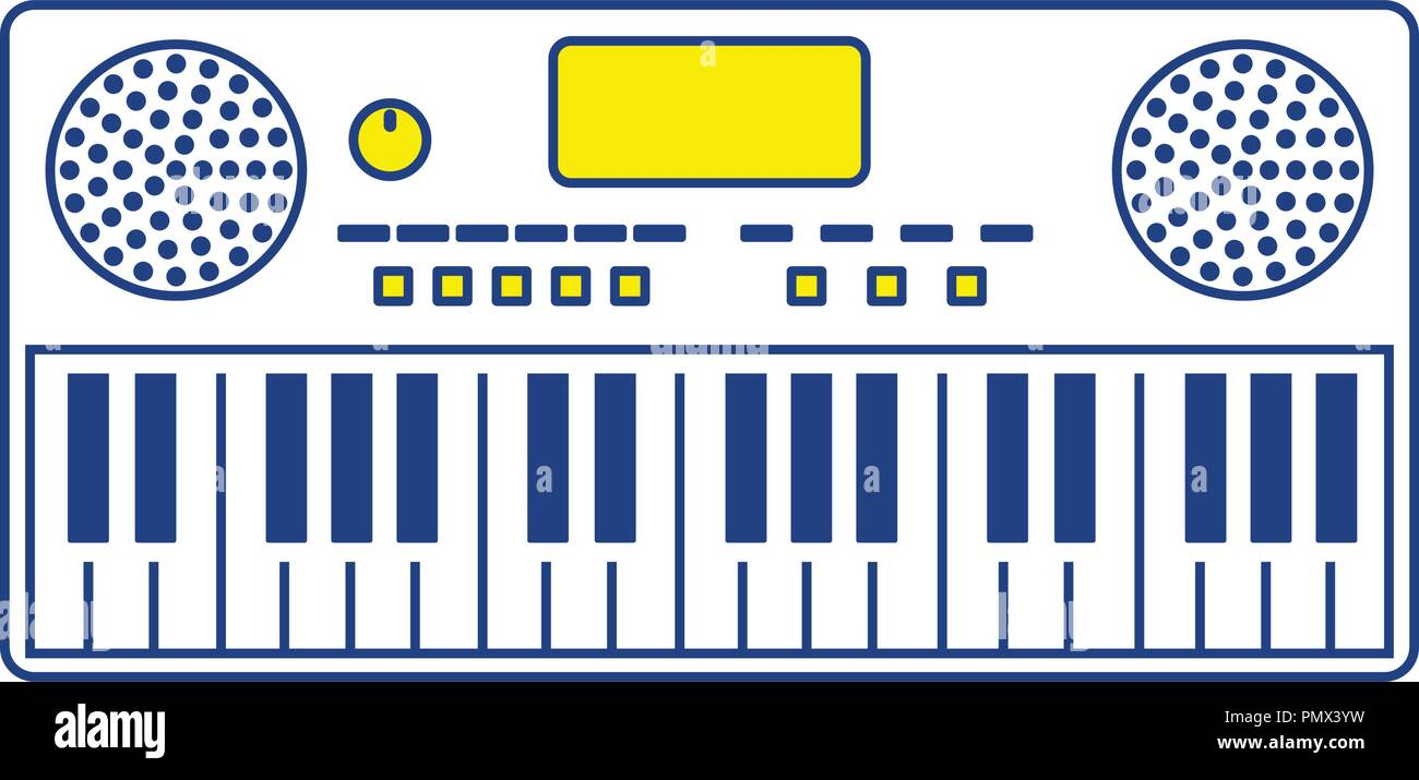 Music synthesizer icon. Thin line design. Vector illustration. - Stock Image