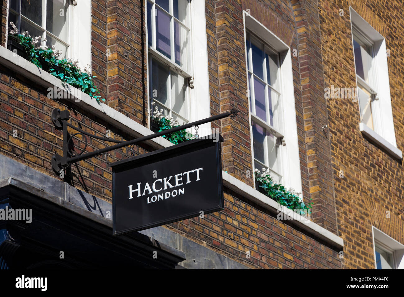 Sign, Hackett London, on store at King Street, Covent Garden, London, UK. - Stock Image
