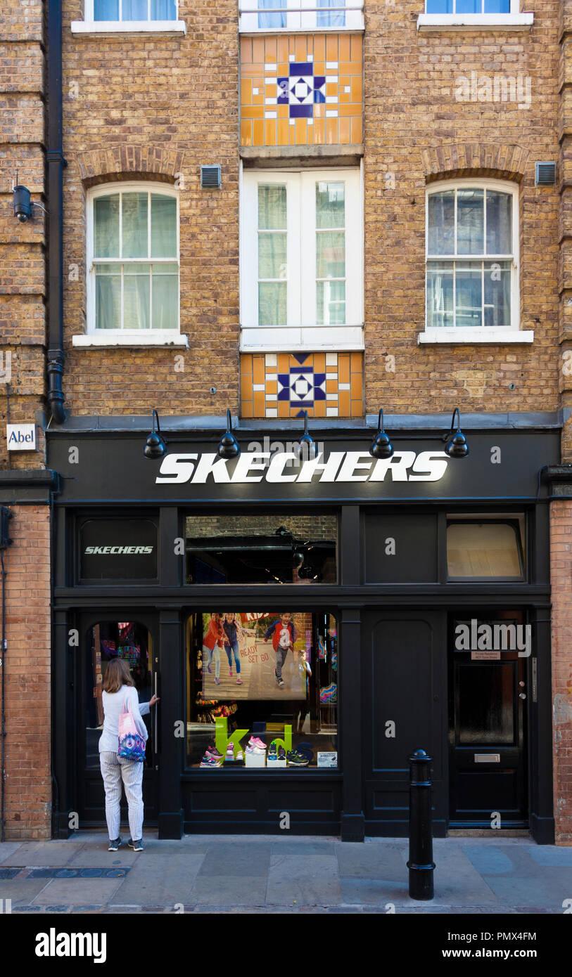SKECHERS, shoe retailer, James Street, Covent Garden, London, UK. - Stock Image