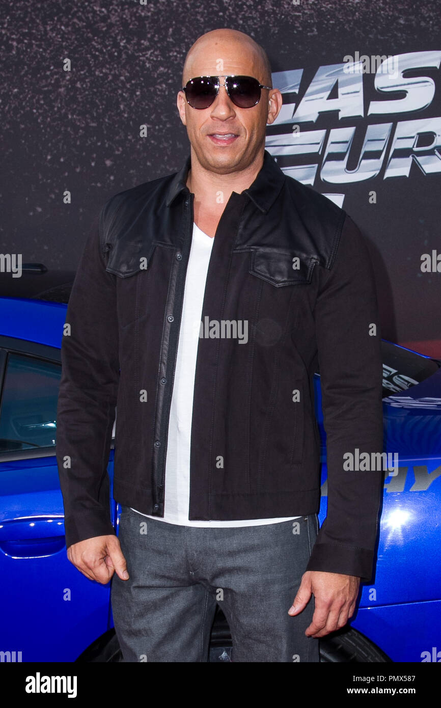 Vin Diesel arrives at the premiere of Universal Pictures' 'Fast & Furious 6' at Gibson Amphitheatre on May 21, 2013 in Universal City, California. Photo by Eden Ari / PRPP / PictureLux  File Reference # 31967 087PRPPEA  For Editorial Use Only -  All Rights Reserved Stock Photo