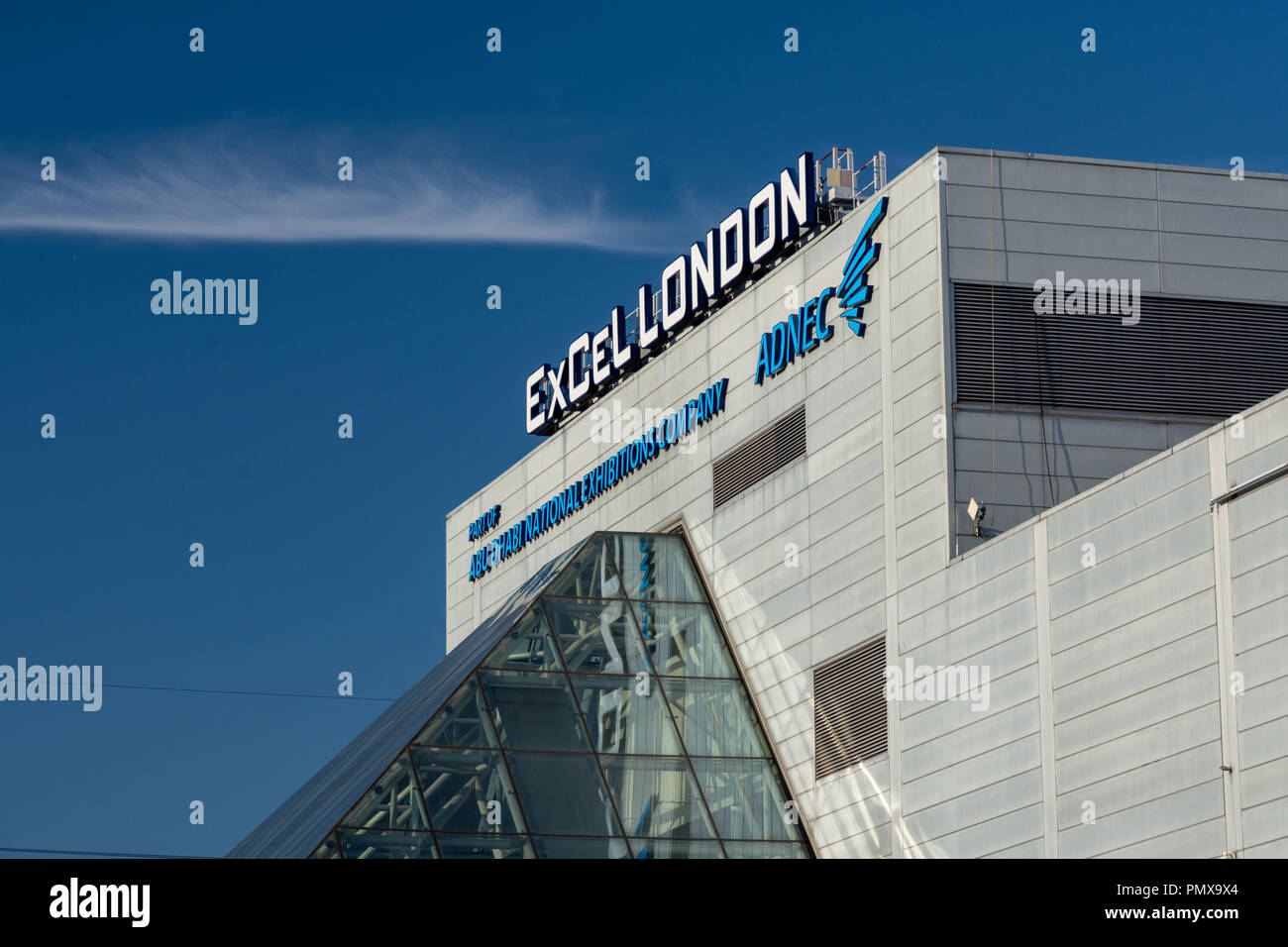London, England, UK - September 2, 2018: A large sign marks the entrance to ExCeL exhibition centre in East London's Docklands. - Stock Image