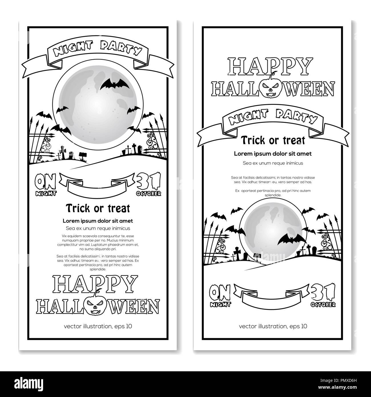 Halloween Design Invitation Halloween Night Party Full Moon Over