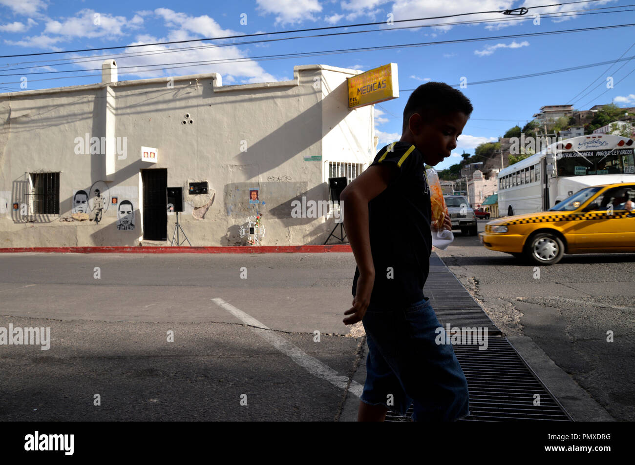 The younger brother of a teen shot and killed by a U.S. Border Patrol agent paces before the start of a protest of the shooting of another teen by an  - Stock Image