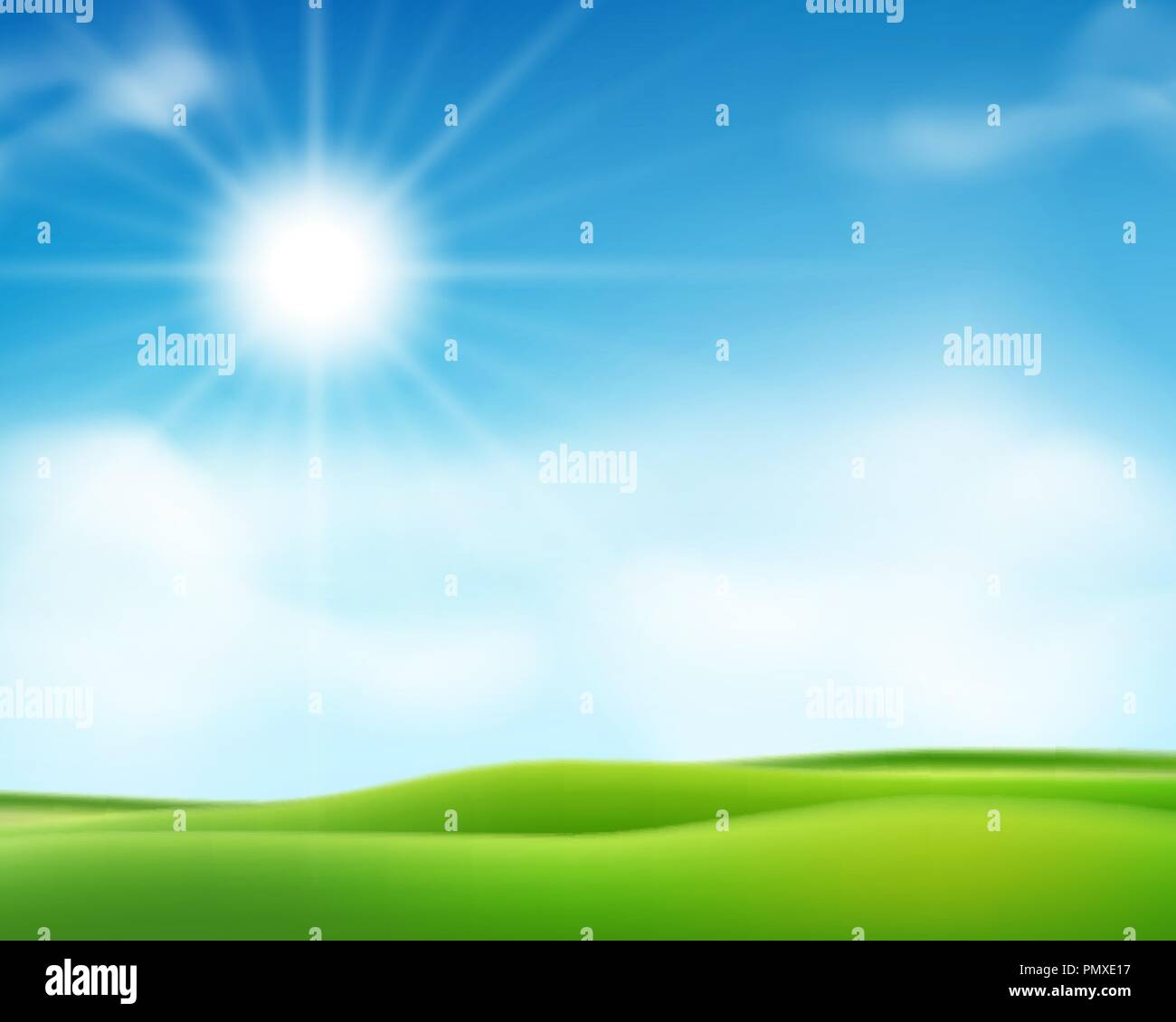 Summer or spring sunny morning background with blue sky and shiny sun. Sunny day poster design. Vector illustration - Stock Vector