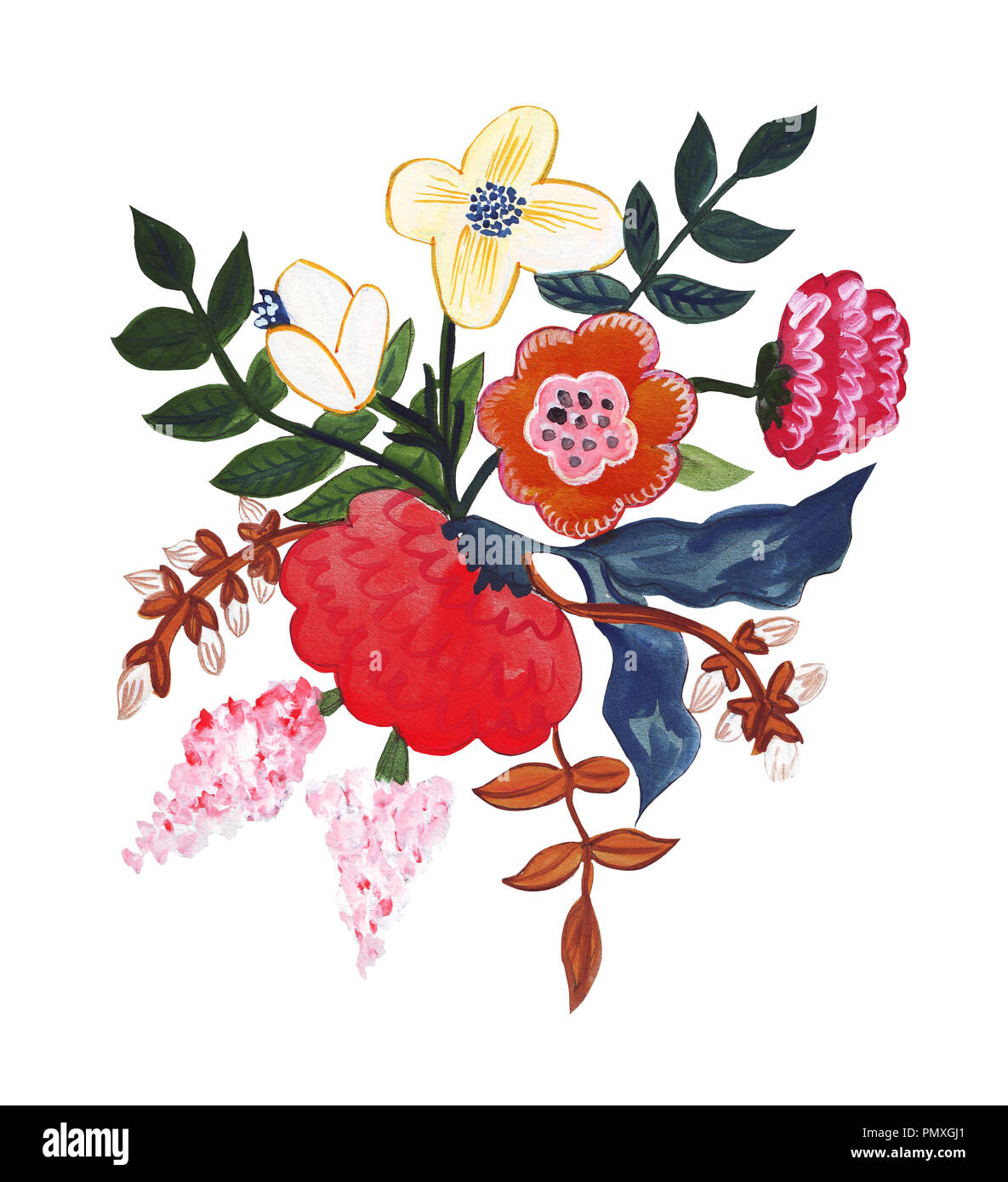 Illustration Of Pencil Drawing Bouquet Flowers In Bright Colors For