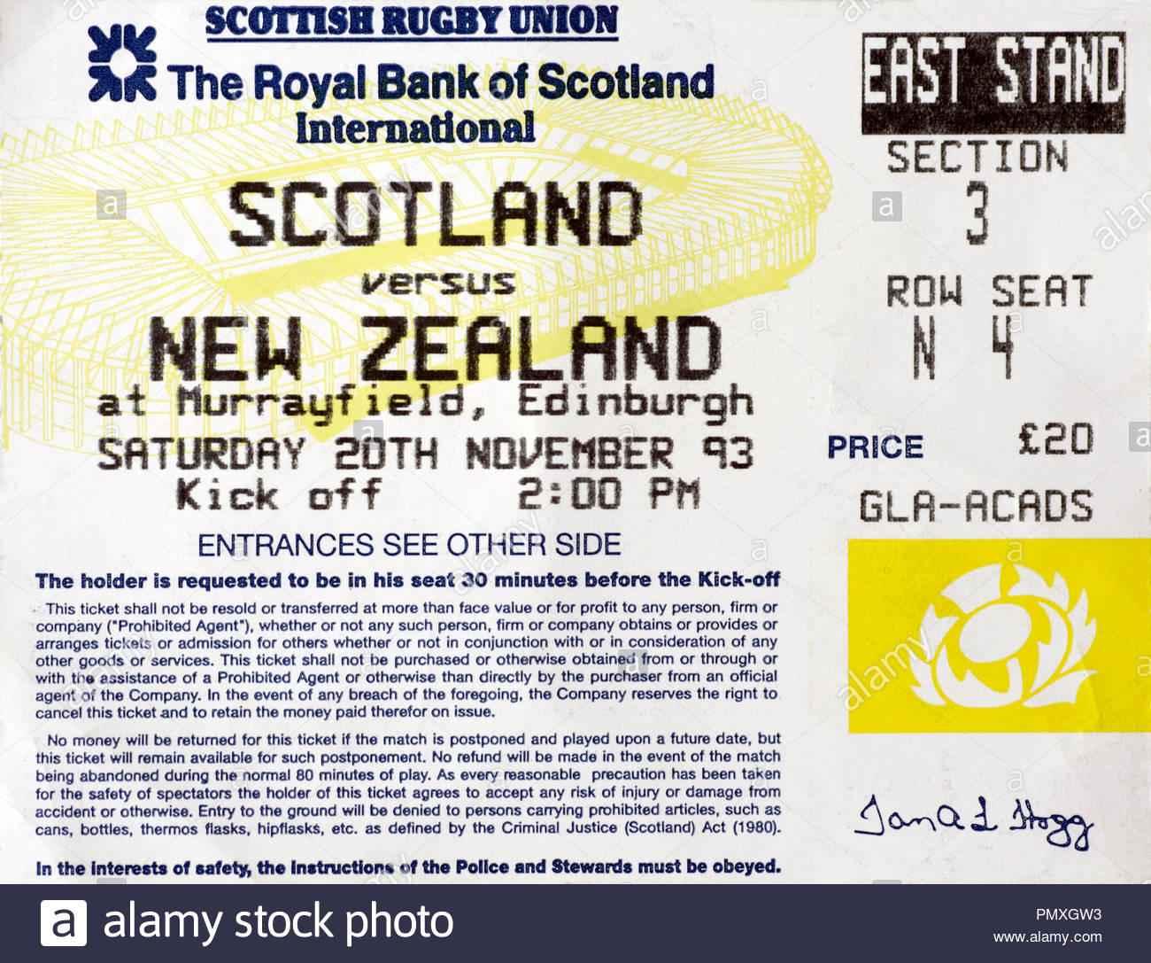 Ticket for Scotland versus New Zealand Rugby Union International at Murrayfield Stadium Edinburgh,  Saturday 20th November 1993. Final score 15-51. - Stock Image
