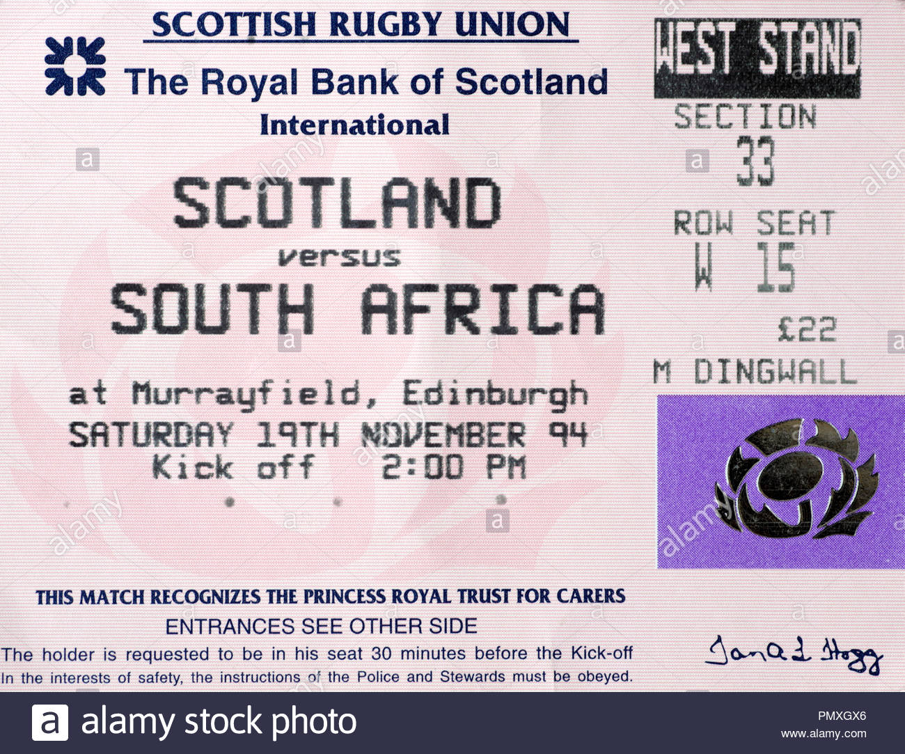 Ticket for Scotland versus South Africa Rugby Union International at Murrayfield Stadium Edinburgh,  Saturday 19th November 1994. Final Score 10-34. - Stock Image