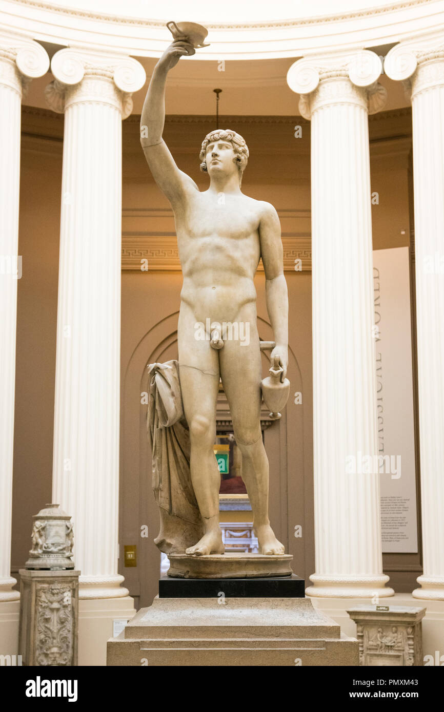 Liverpool Wirral Port Sunlight Village The Lady Lever Art Gallery white marble statue sculpture Antinous Roman c 135 AD Hadrians Lover drowned Nile Stock Photo
