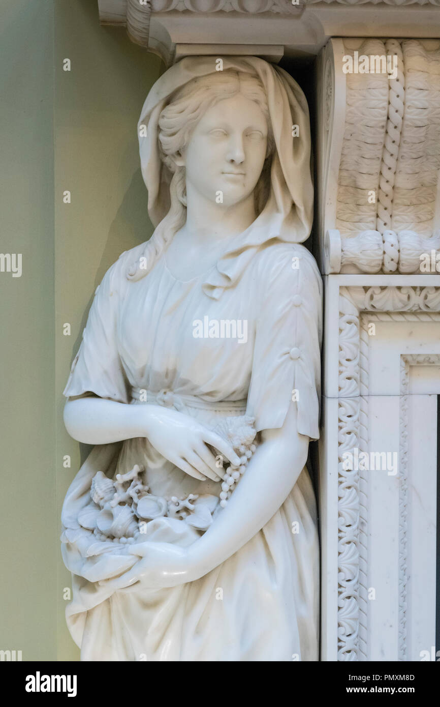 Liverpool Wirral Port Sunlight The Lady Lever Art Gallery detail chimney piece white marble lady shells coral pearls c 1925 for Benjamin Styles - Stock Image