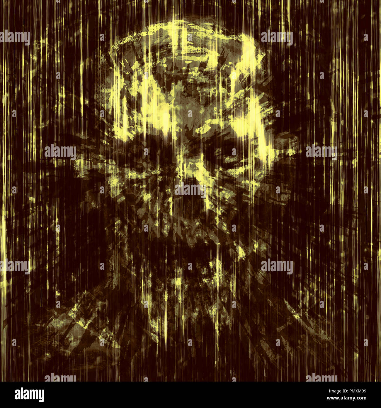 Terrible skull background into small debris. Scary character head. Stock Photo