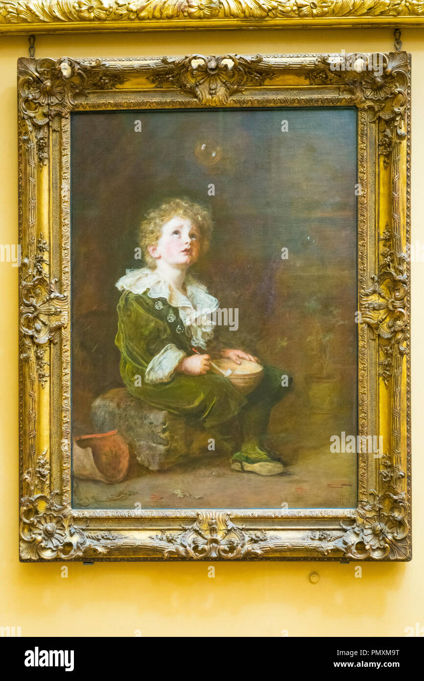 Liverpool Wirral Port Sunlight Village The Lady Lever Art Gallery boy blowing Bubbles 1887 featured Illustrated London News oil on canvas - Stock Image