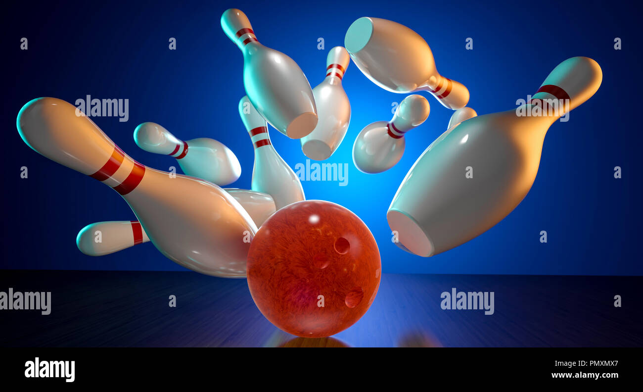 3d rendering image of bowling action - Stock Image