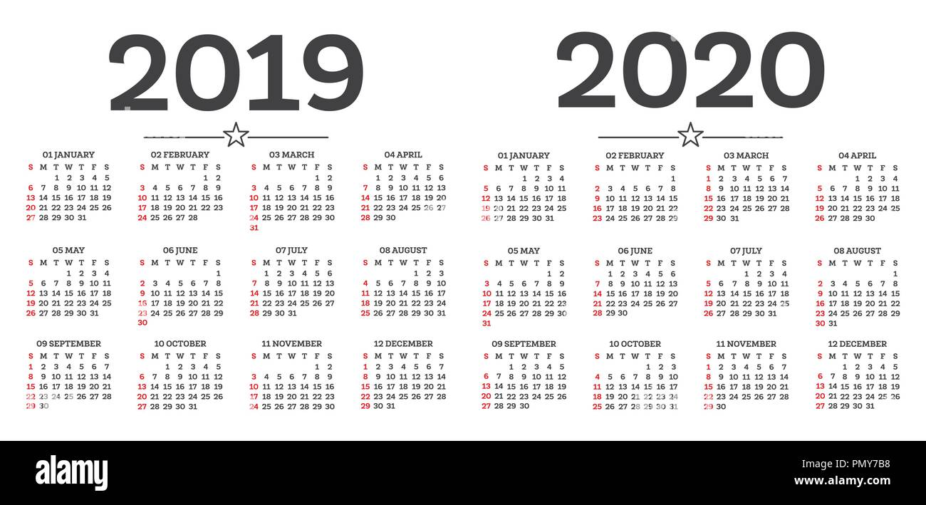Calendario 2020 Vector Gratis.Calendar 2020 Stock Photos Calendar 2020 Stock Images Alamy