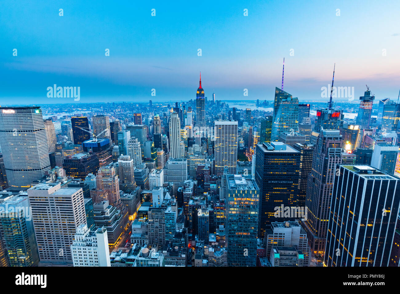 Manhattan view from Top of the Rock - Rockefeller Center - New York - Stock Image