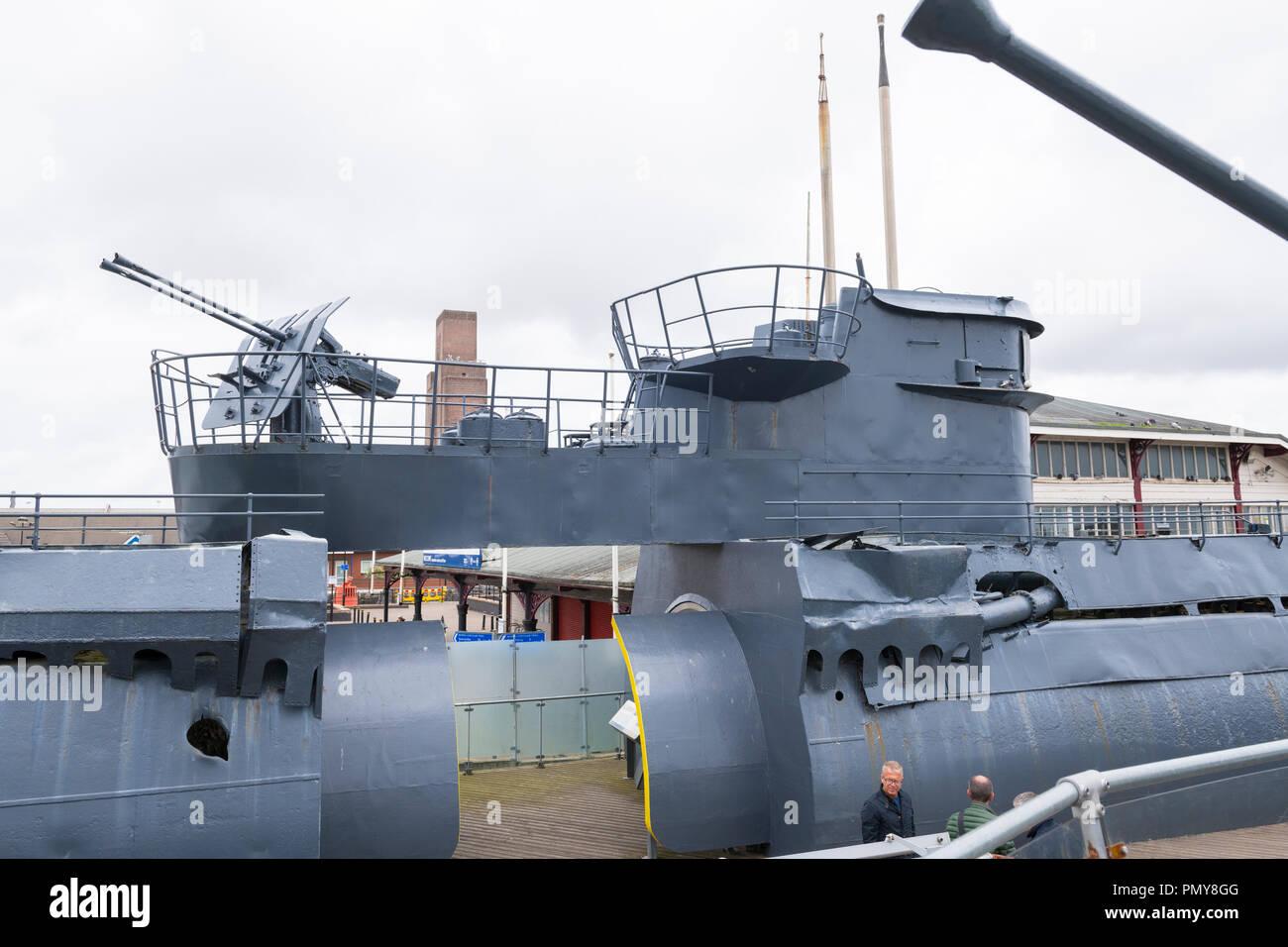 Liverpool Birkenhead Mersey Ferries Woodside Ferry Terminal Merseyside River Mersey u-boat  U-534 German submarine war ship sections to view interior - Stock Image