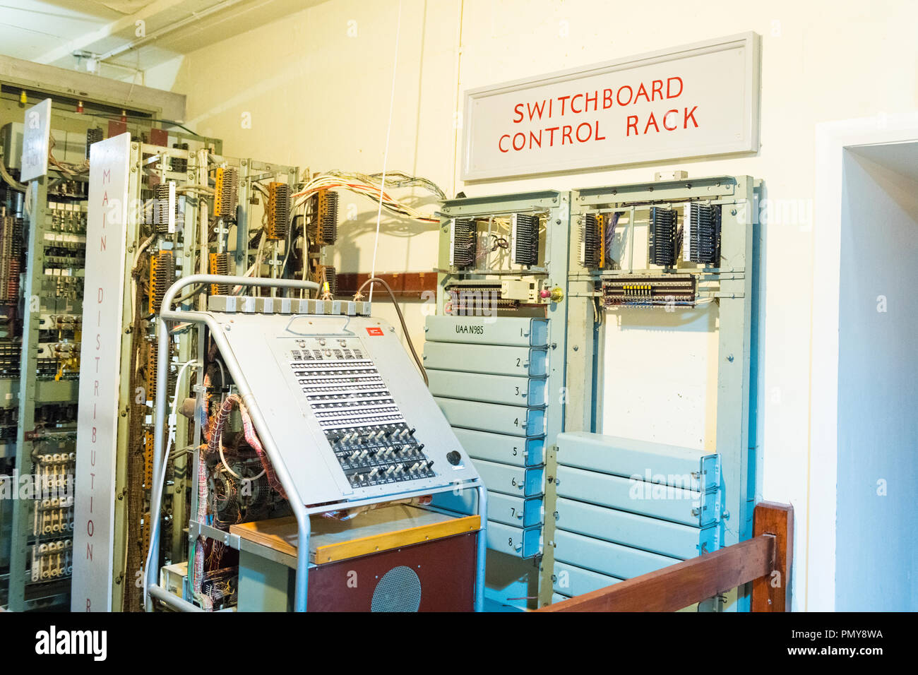 Liverpool Exchange Flags Western Approaches HQ WWII Second World War Derby House museum bunker Citadel Fortress Citadel or Fortress switchboard rack Stock Photo