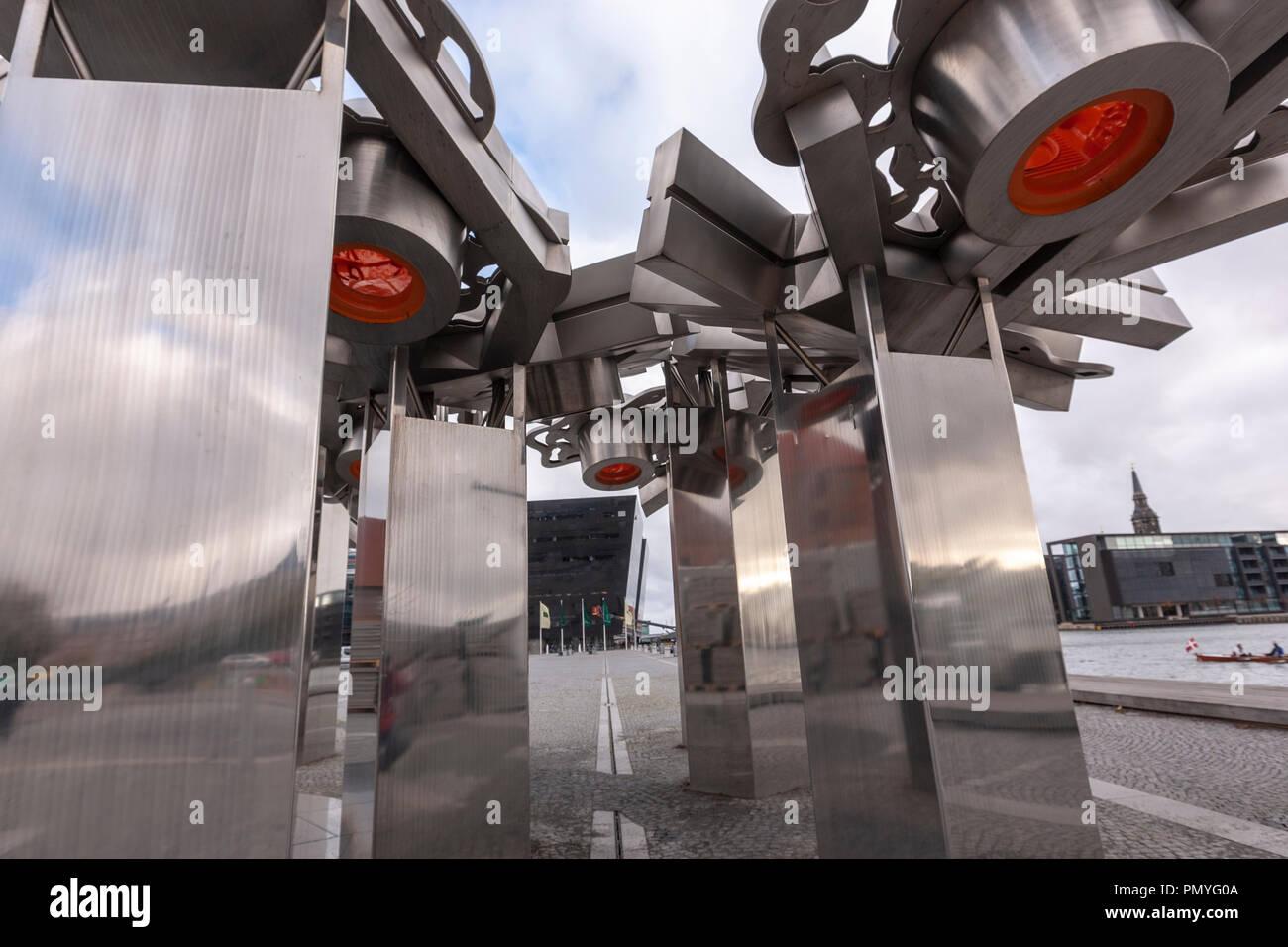 City Fractal sculpture by Elisabeth Toubro in Søren Kierkegaards Plads, Copenhagen, Denmark - Stock Image