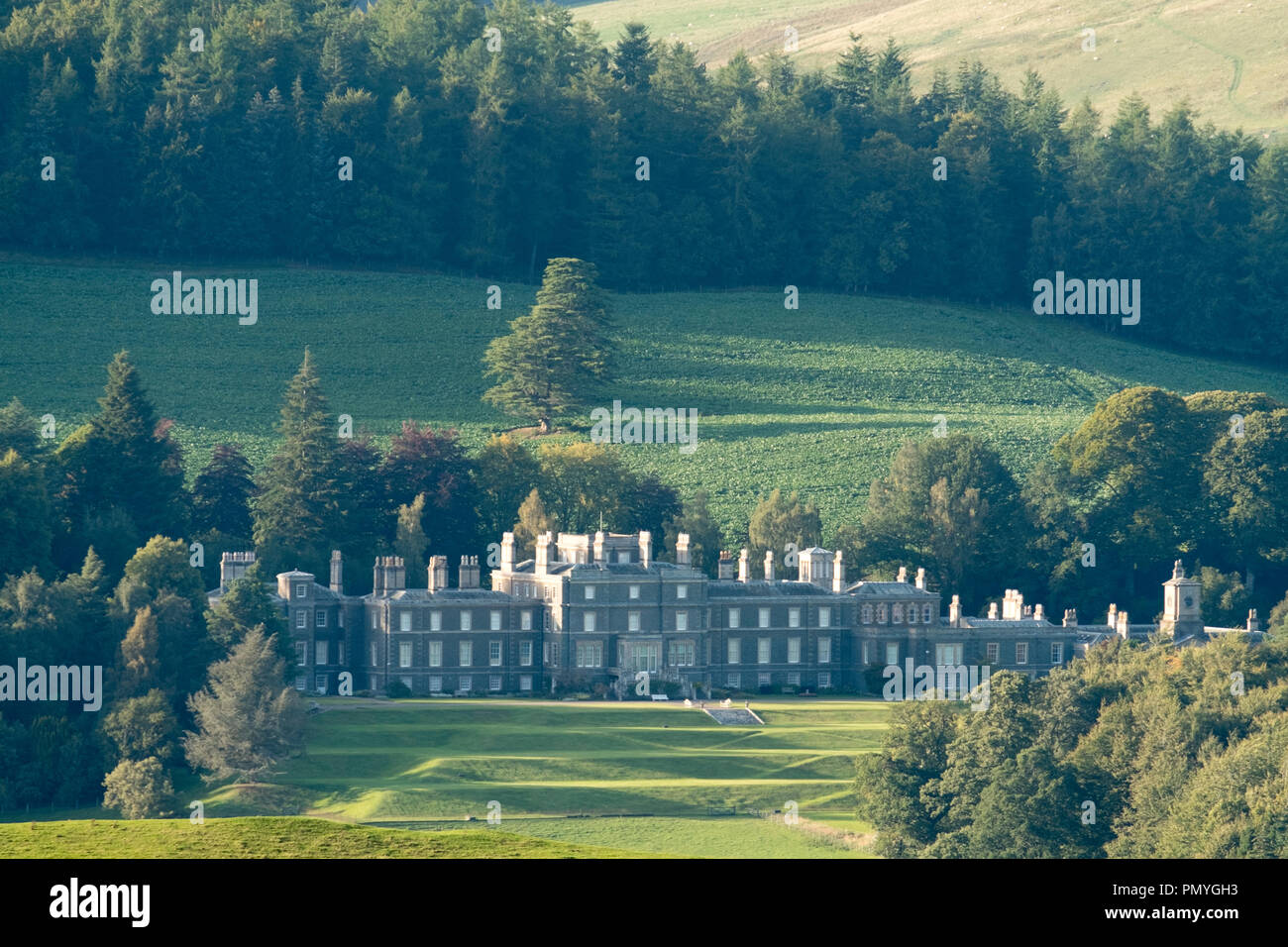 Bowhill House near Selkirk, Scottish Borders home of the Duke of Buccleuch. - Stock Image