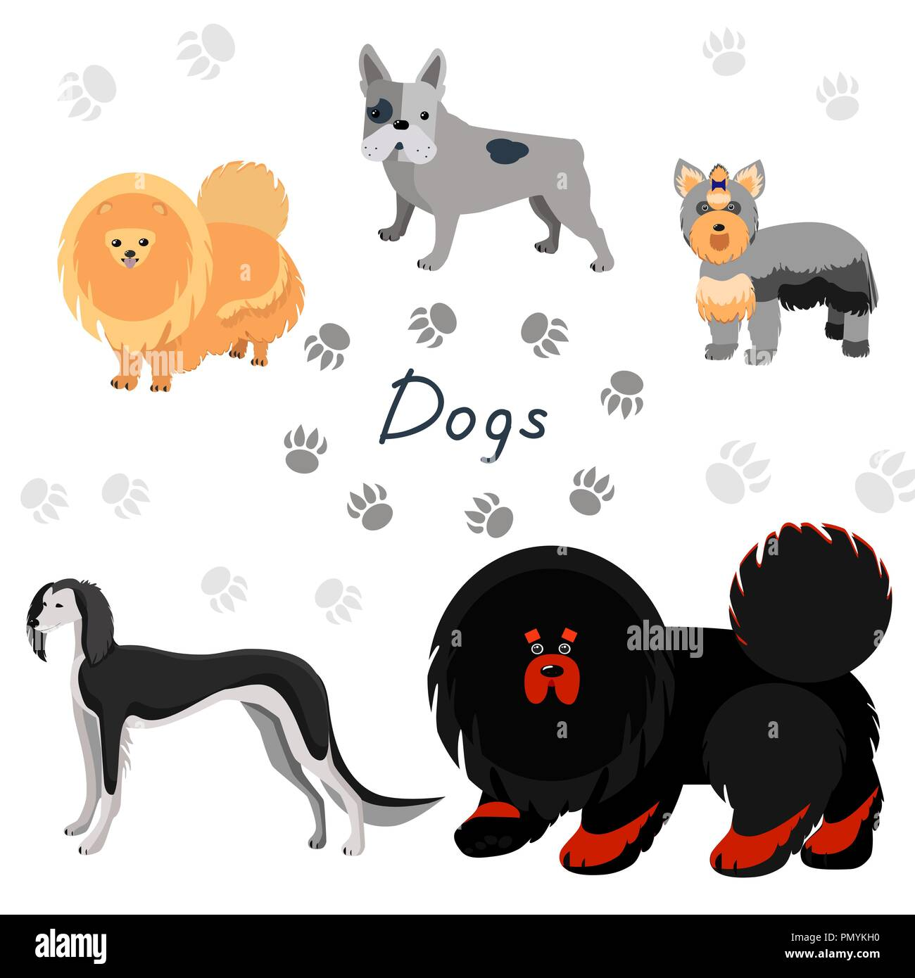 Dogs collection in flat style. Set of dog breeds isolated on white background. - Stock Vector