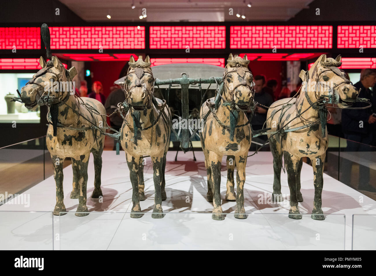 Liverpool William Brown Street World Museum China's First Emperor & The Terracotta Warriors Exhibition chariot four horses Stock Photo