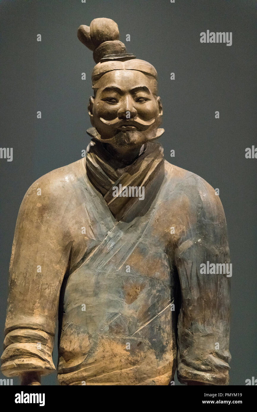 Liverpool William Brown Street World Museum China's First Emperor & The Terracotta Warriors Exhibition Light Infantryman Qin Dynasty Stock Photo