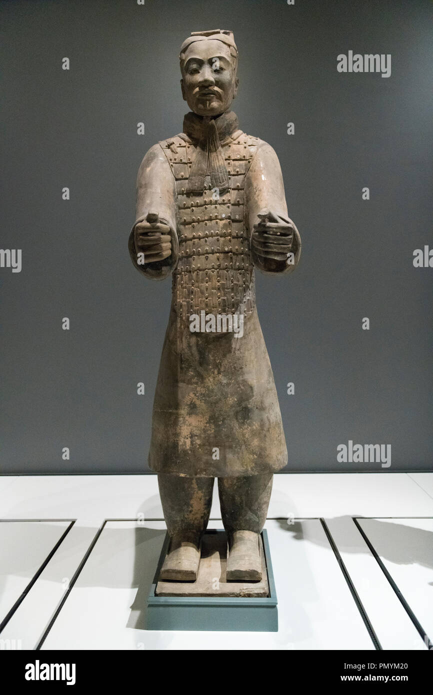 Liverpool William Brown Street World Museum China's First Emperor & The Terracotta Warriors Exhibition Charioteer Qin Dynasty - Stock Image