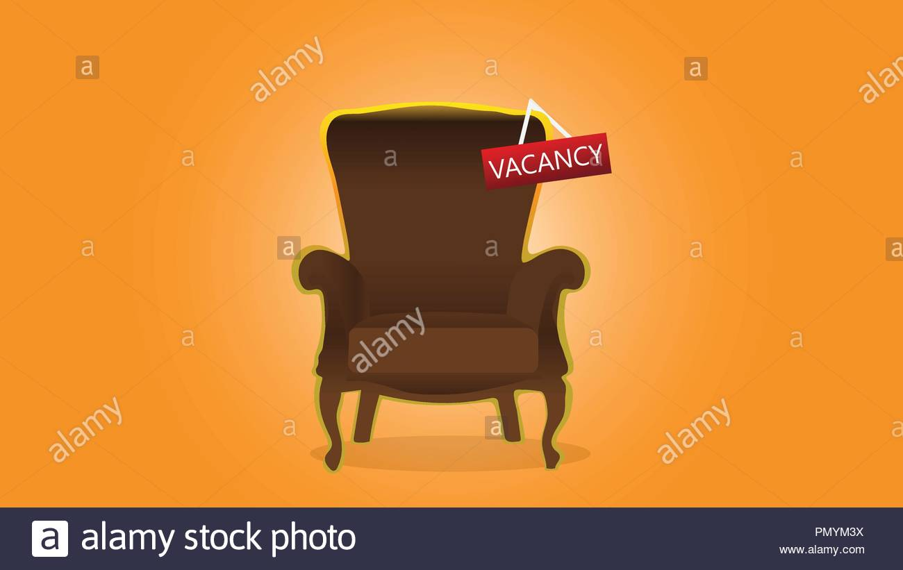 Empty office chair with vacant sign - Stock Vector
