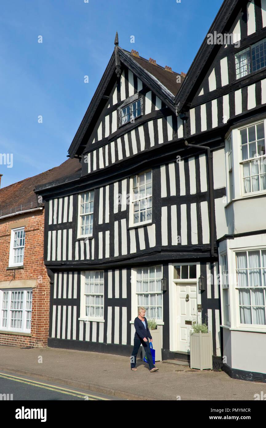 Black & white timber framed house in Ledbury Herefordshire England UK Stock Photo
