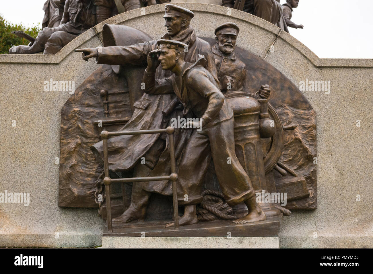 Liverpool Wirral Port Sunlight Village WWI WWII first second world war monument war memorial staff employees killed died sacrificed lives bronze navy Stock Photo