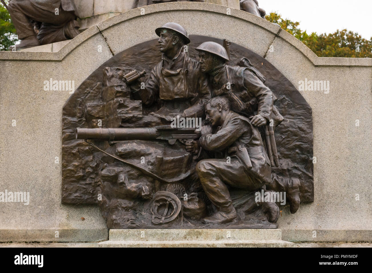 Liverpool Wirral Port Sunlight Village WWI WWII first second world war monument war memorial staff employees killed died sacrificed lives bronze army Stock Photo