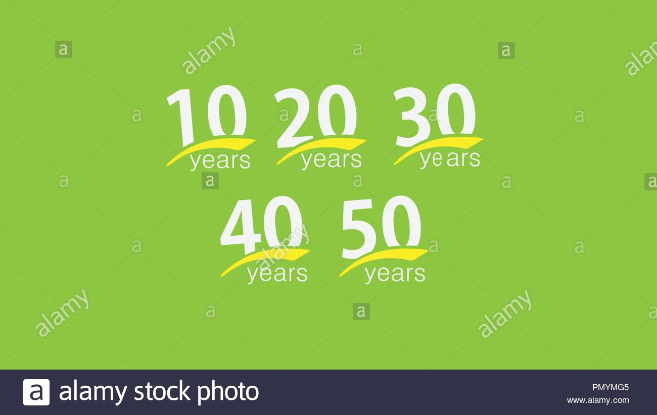 abstract 10th to 50th anniversary on greenish background - Stock Vector