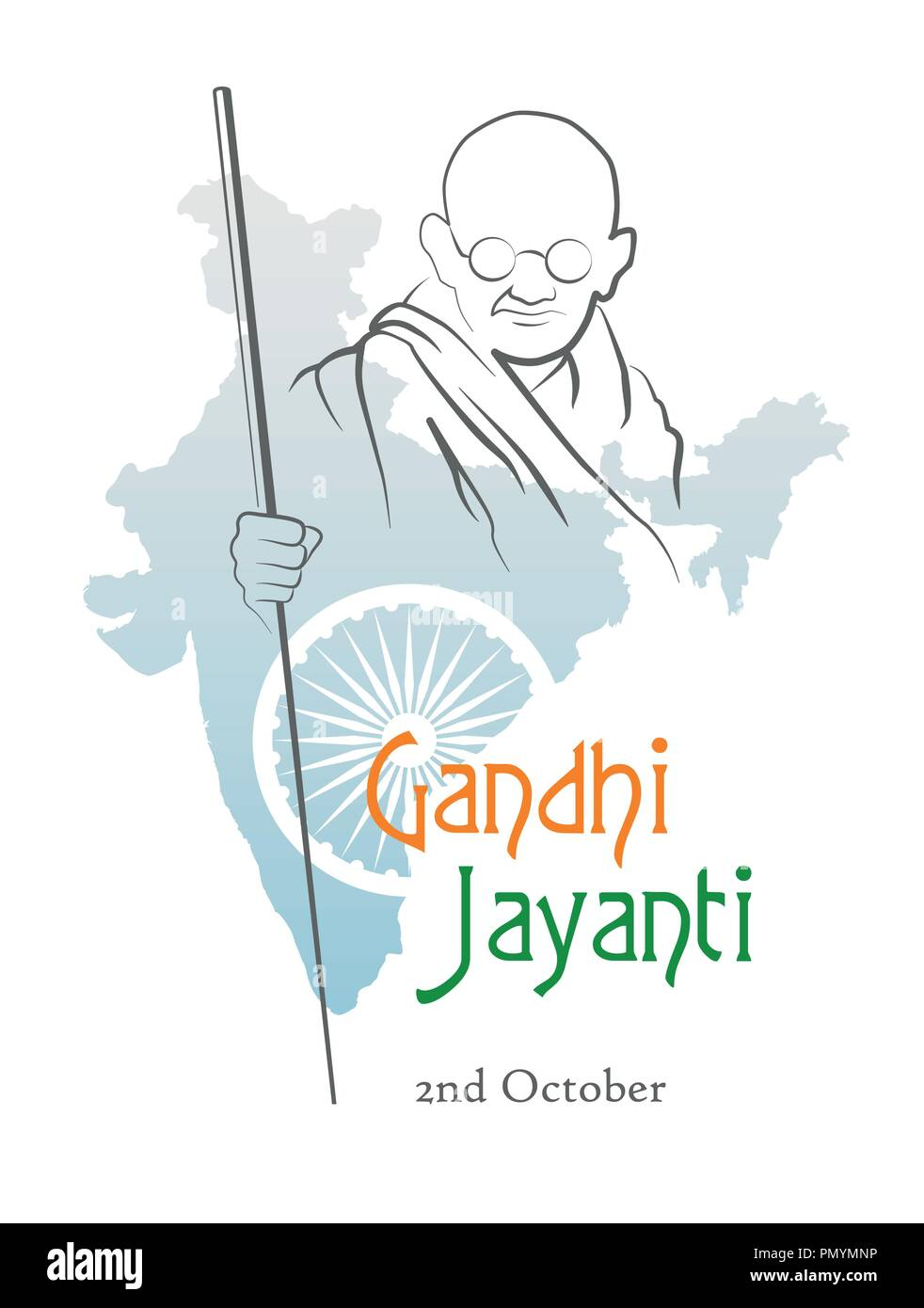 October 2. Gandhi Jayanti. India. Abstract sketch of Mahatma Gandhi with Ashoka Chakra on the silhouette of the map of India. Vector illustration. - Stock Image