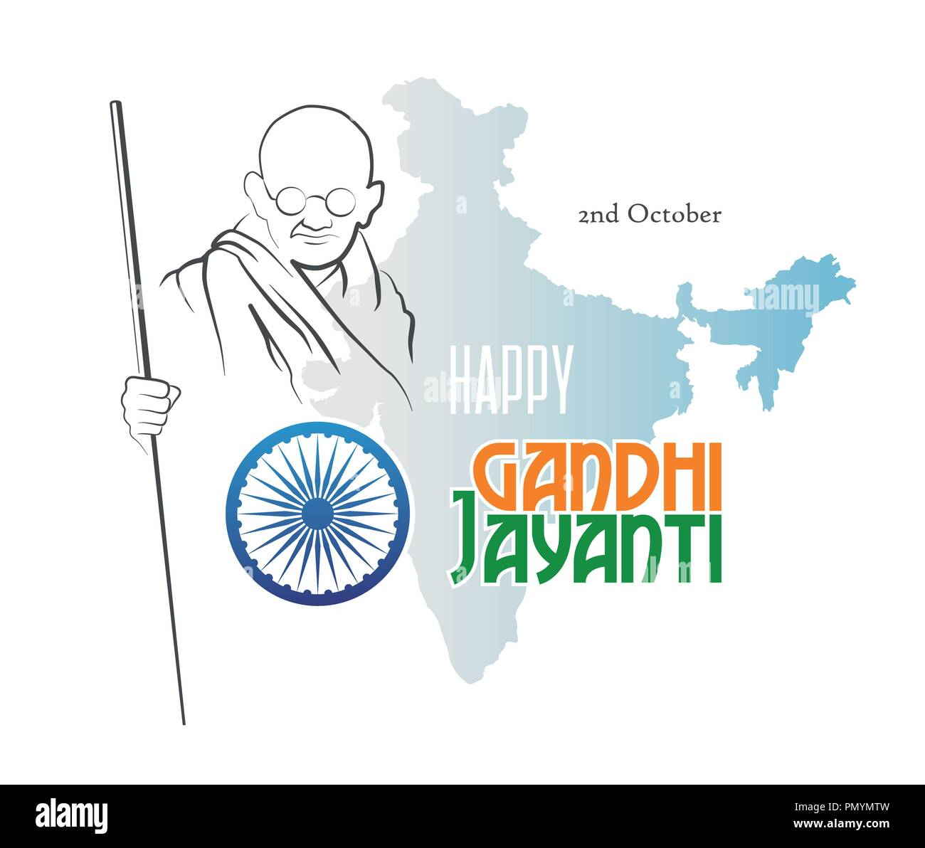 October 2. Happy Gandhi Jayanti. Abstract sketch of Mahatma Gandhi with Ashoka Chakra on the silhouette of the map of India. Vector illustration. - Stock Image