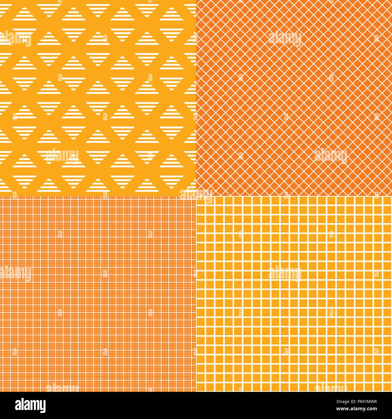352600f18 Set of striped and grid cells seamless patterns. Orange with yellow colors.  Vector Banner