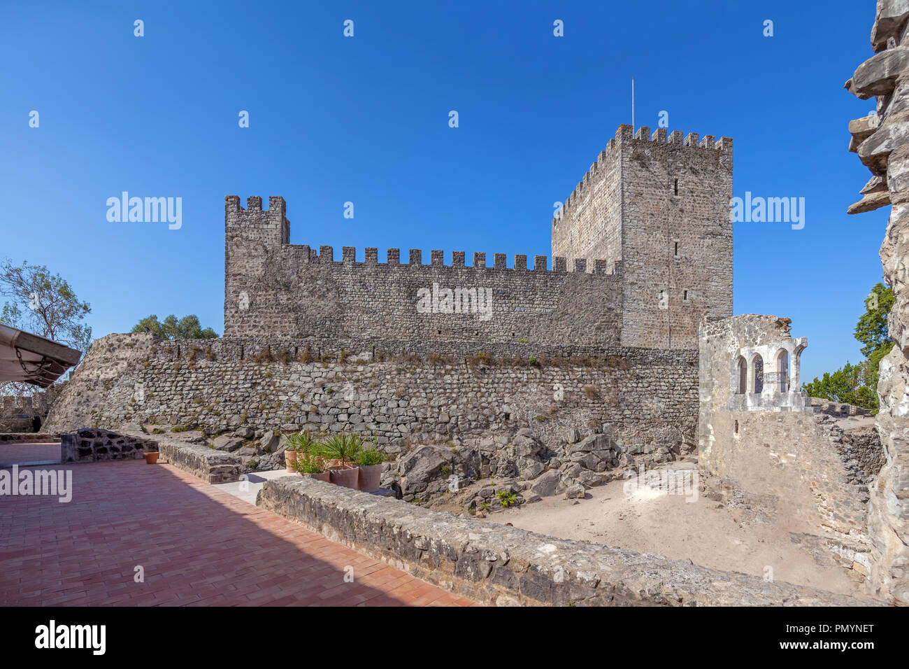Leiria, Portugal - October 10, 2017: Keep of the medieval Castle  of Leiria seen from the Palatial Residence. Belonged to the Knights Templar. - Stock Image