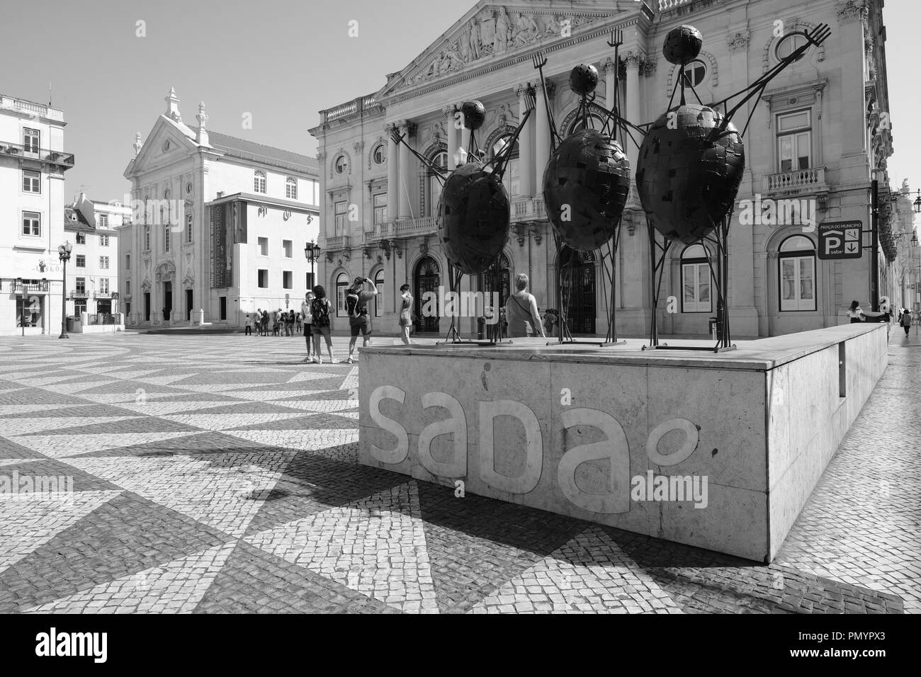 Red Human shaped sculptures and figures Municipality Lisbon Portugal - Stock Image