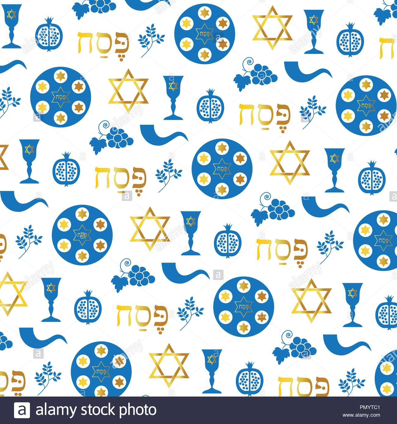 blue gold passover on white background - Stock Vector