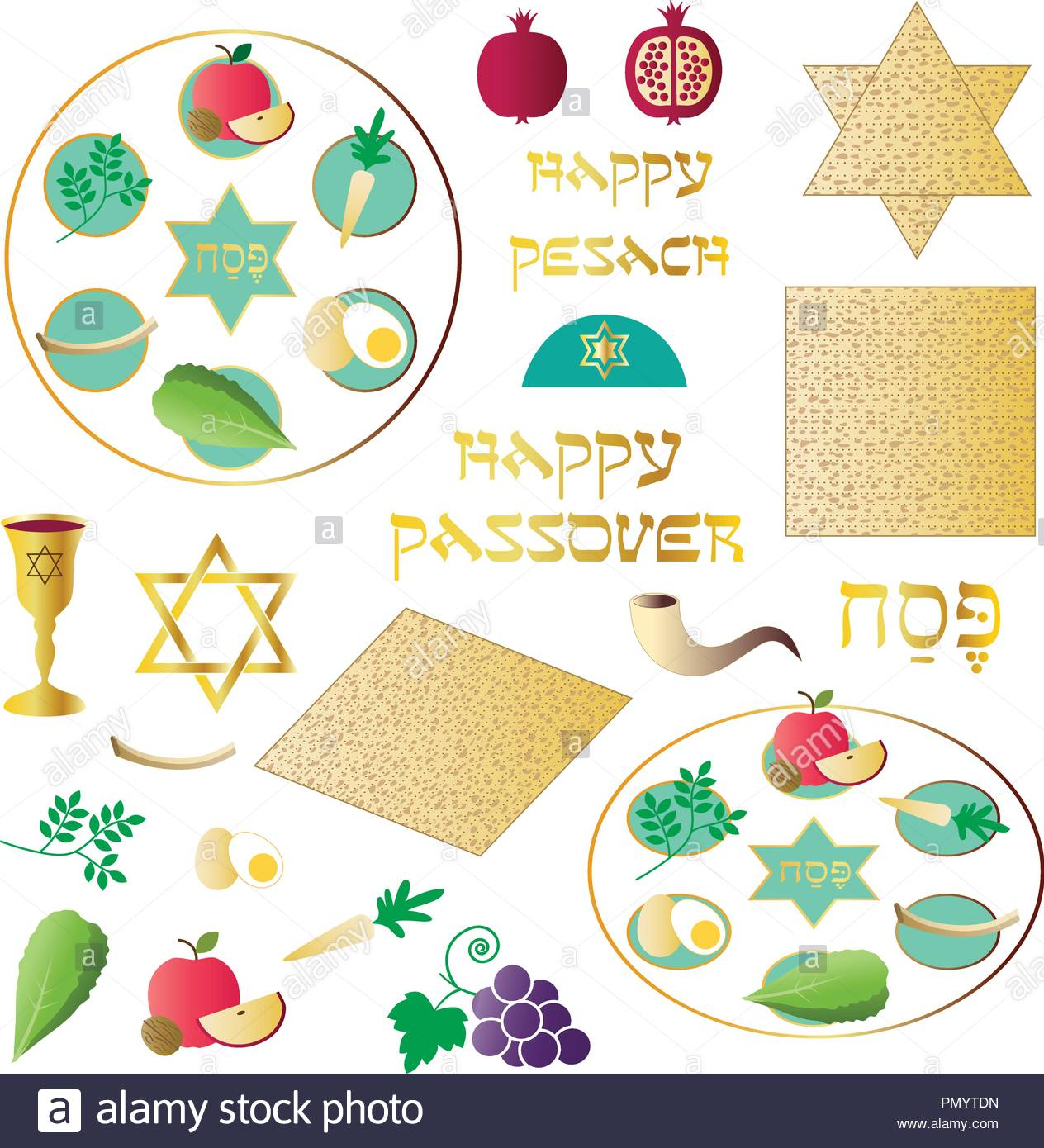 passover seder motifs - Stock Image