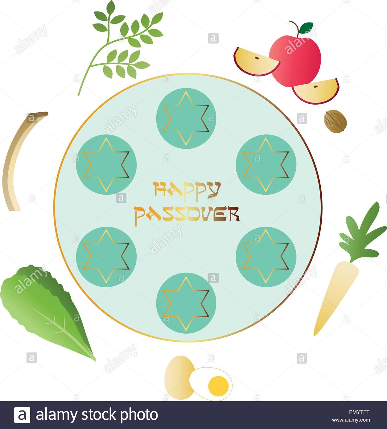 Turquoise Gold Happy Passover Seder Plate Stock Vector Art