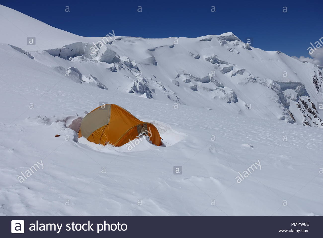 Lonely tent in the Pamir Montains (5800 m npm) - Stock Image