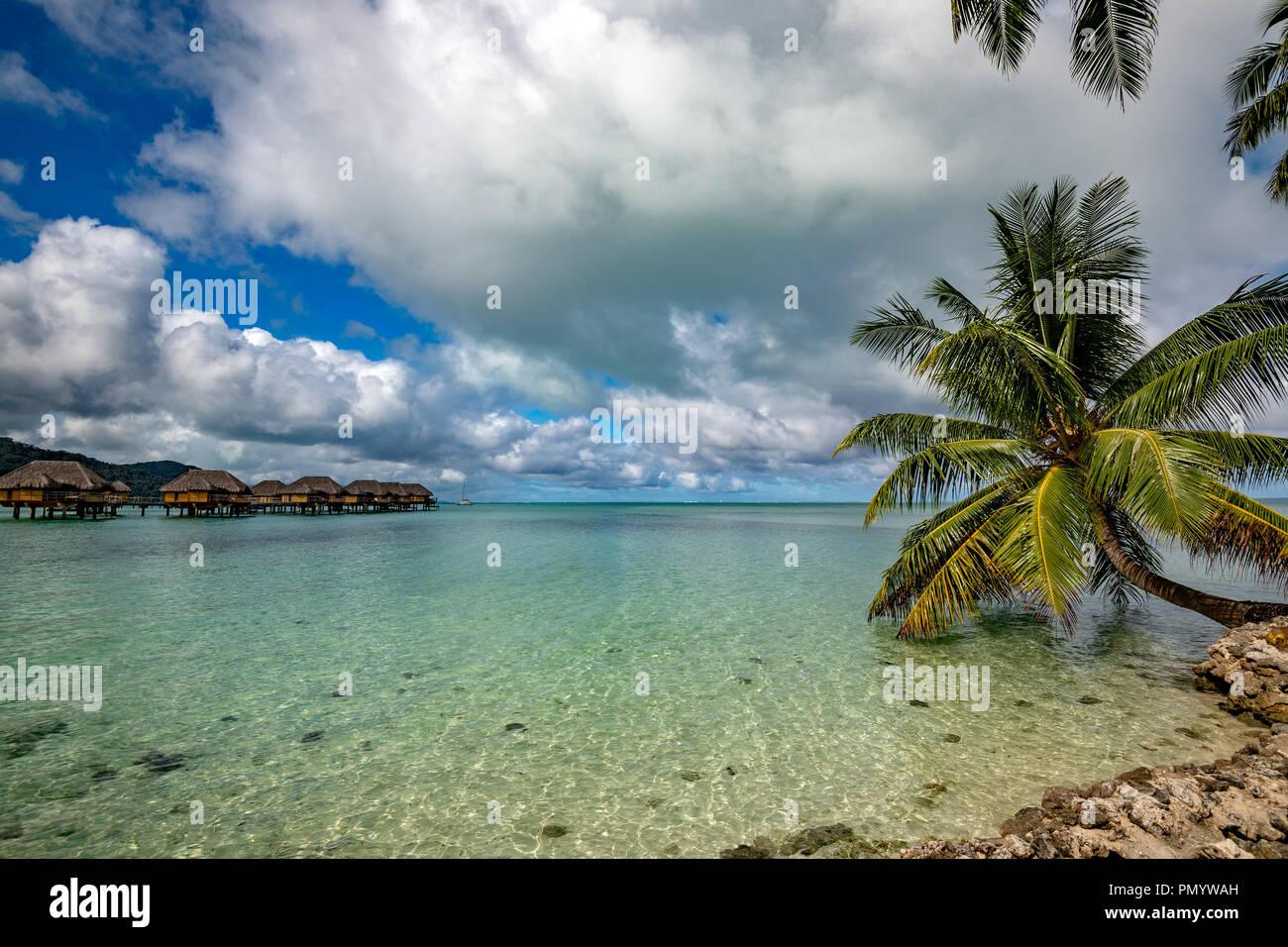bora bora island french polynesia aerial airplane view panorama landscape, overwater bungalow - Stock Image