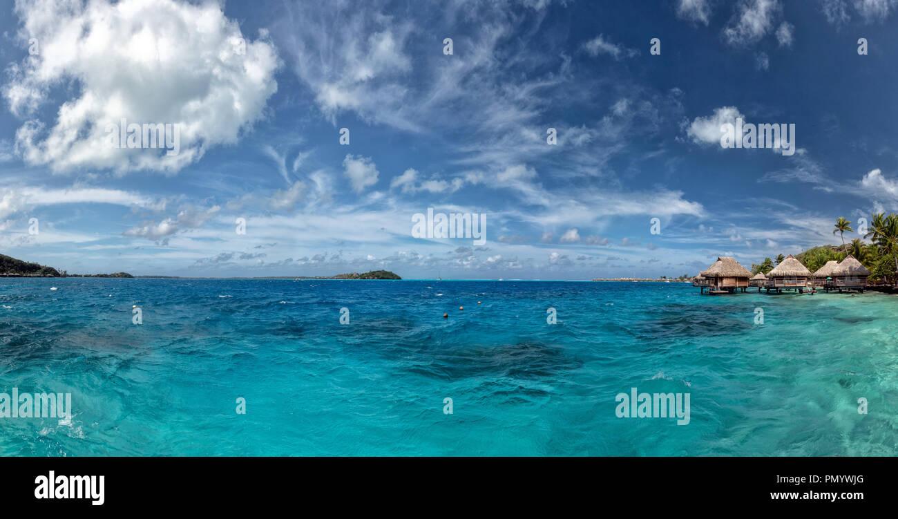 bora bora island french polynesia aerial airplane overwater bungalow on turquoise lagoon - Stock Image