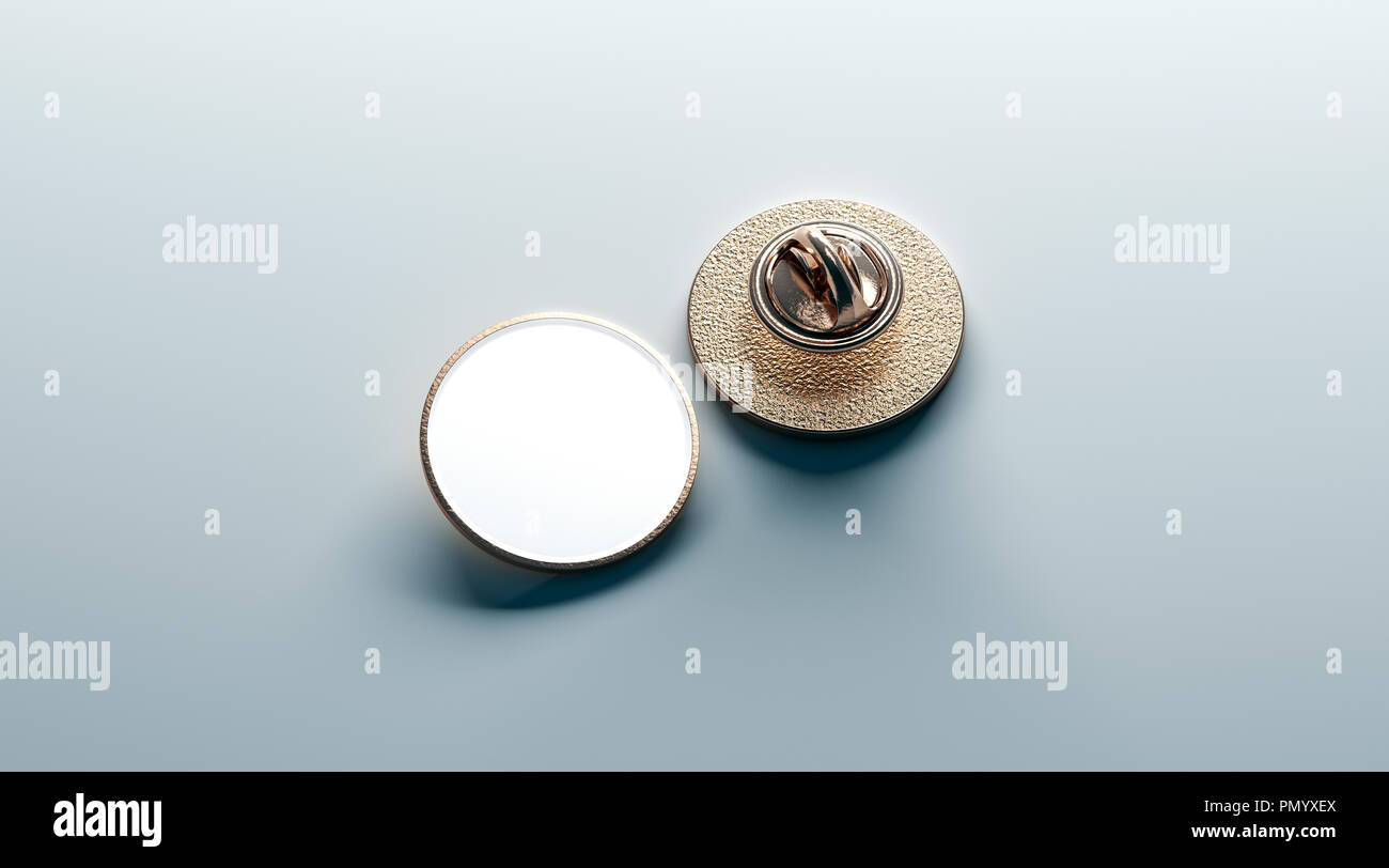 Blank white round gold lapel badge mock up, front and back